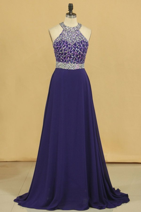 Halter Beaded Bodice Open Back Prom Dresses A Line Chiffon Sweep PT9X63XY