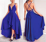 Sexy V Neck Asymmetrical Blue High Low Criss Cross Prom Dresses Evening Dresses