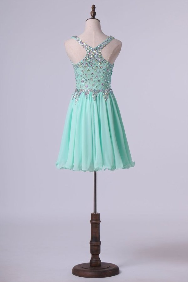 Short Halter A Line Homecoming Dresses Lace&Chiffon PQYHZPB5