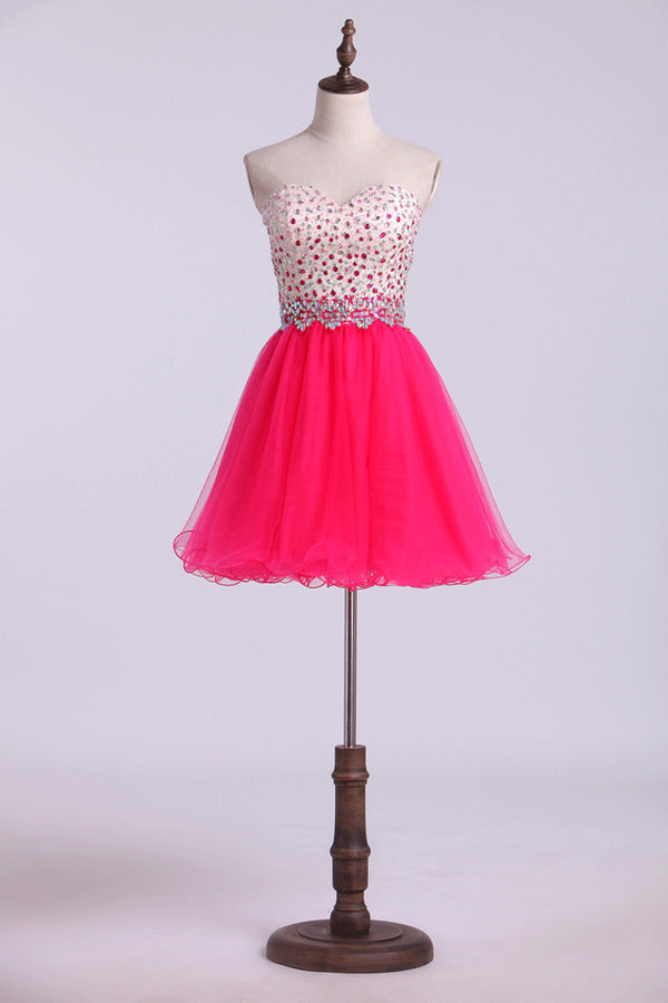 Sweetheart Homecoming Dresses A-Line Beaded PGH47MT2