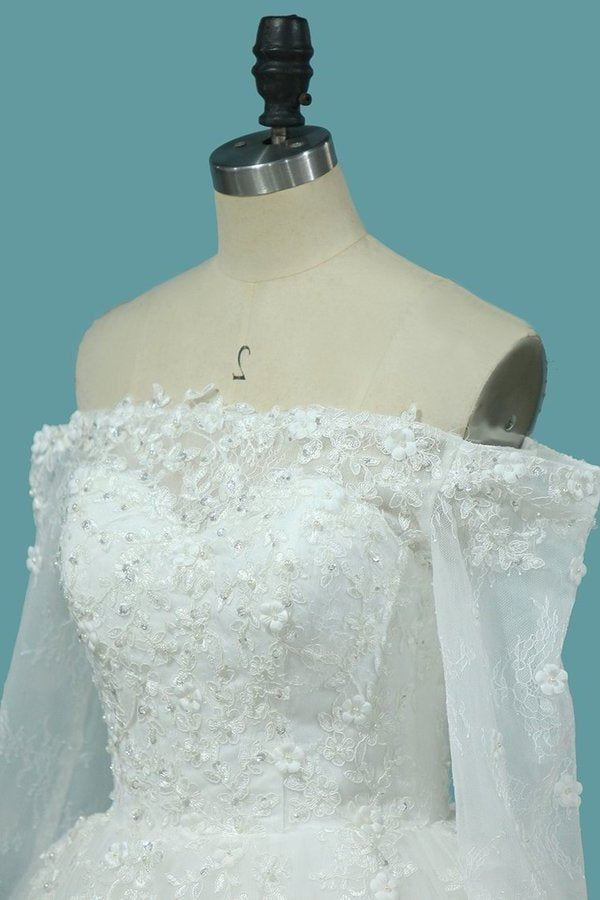 Boat Neck Tulle Wedding Dresses A Line With Applique And Beads PA1DR391