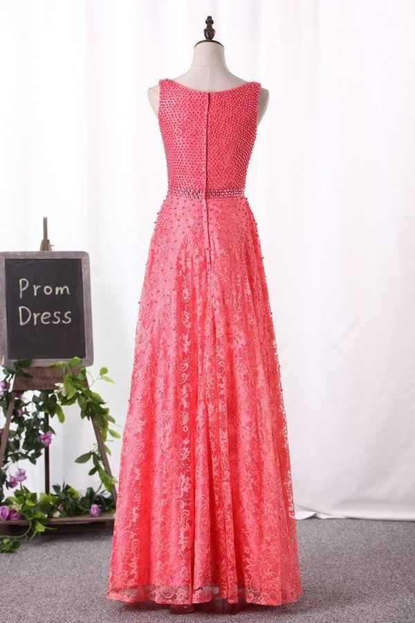 A Line Lace Prom Dresses Scoop With Beading PJ25LKC8