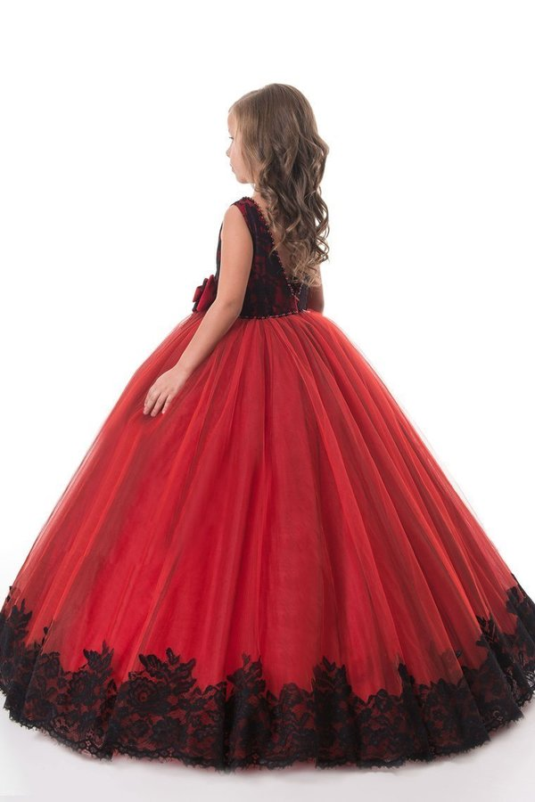 Flower Girl Dresses Ball Gown Scoop Tulle With Applique And P2ZMK1AB