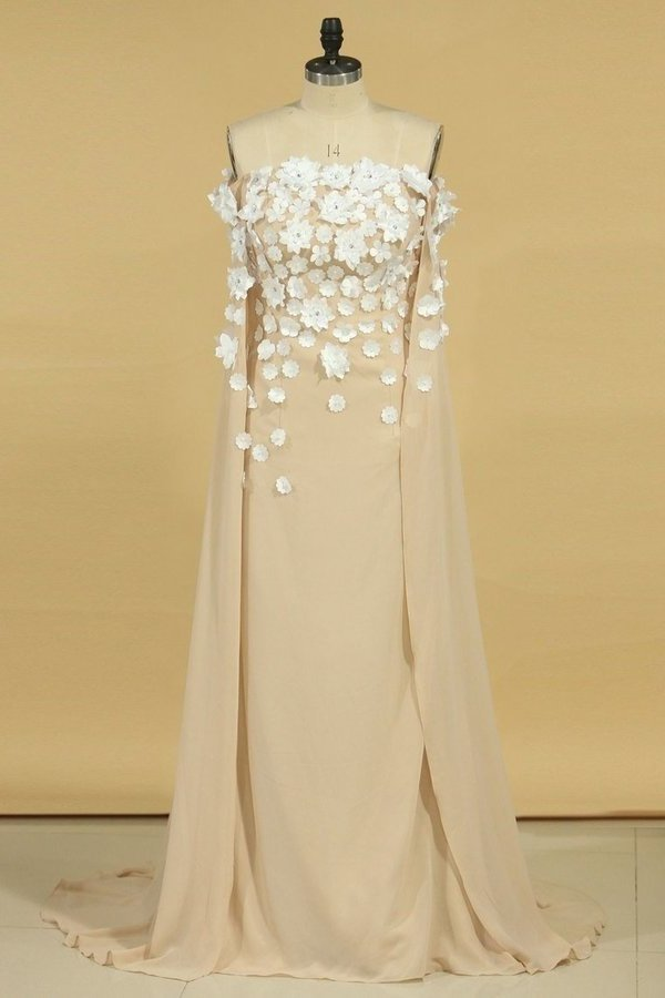 2020 Chiffon Strapless Evening Dresses With Handmade PMG8CP6S