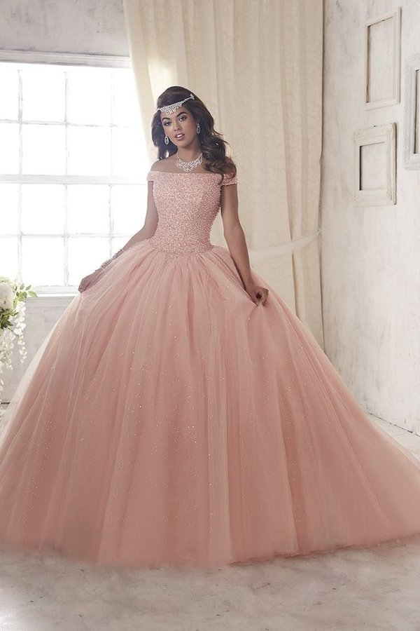 Ball Gown Boat Neck Quinceanera Dresses Tulle With PG8MPB2C