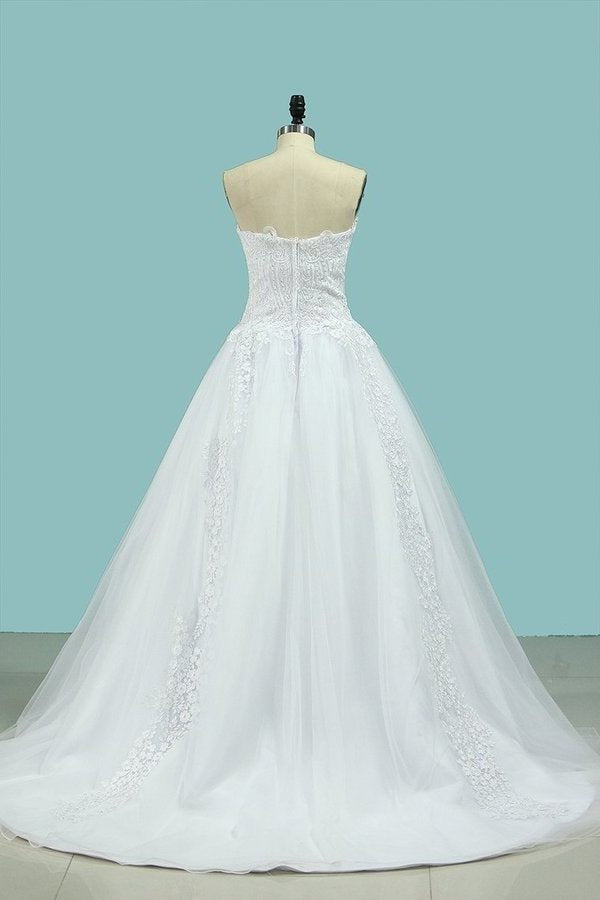 2020 A Line Sweetheart With Applique & Beads Wedding PEFAMB3S