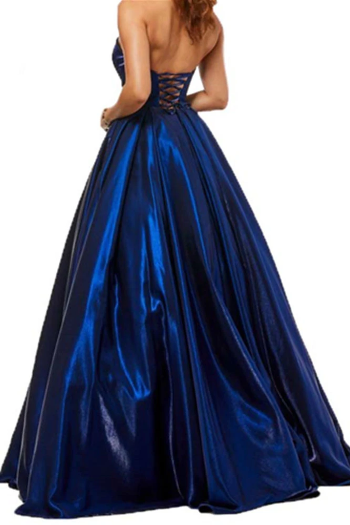 A Line Satin Sweetheart Strapless Prom Dresses With Pockets Evening STGPEXZJBPY