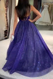 Sparkly Dark Royal Blue Spaghetti Straps V Neck A line Prom Dresses, Formal STG20479