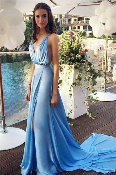 Long Prom Dresses blue Prom Dress chiffon Prom dress sexy backless prom Dress prom Dress