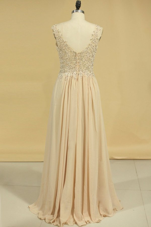 2020 A Line V Neck Chiffon With Applique Floor Length Prom P5E4FSGP