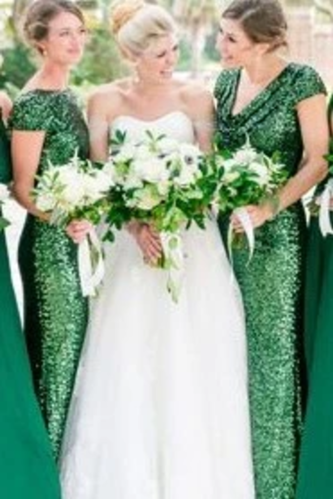 Sequin Wedding Party Dresses Bridesmaid Dresses With Short STGP693L41T