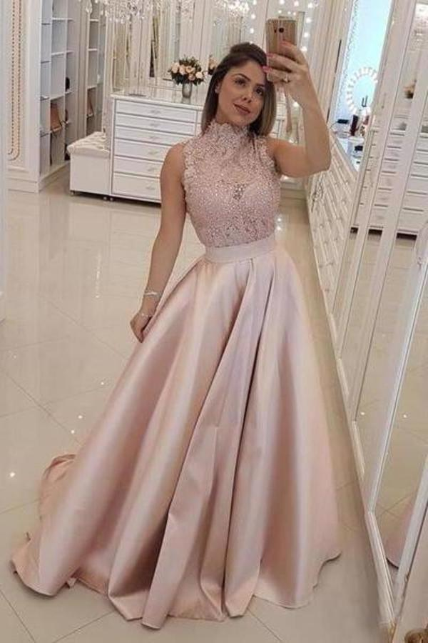 High Neck Prom Dresses A Line Satin Appliques With Beads P6Z84SRF