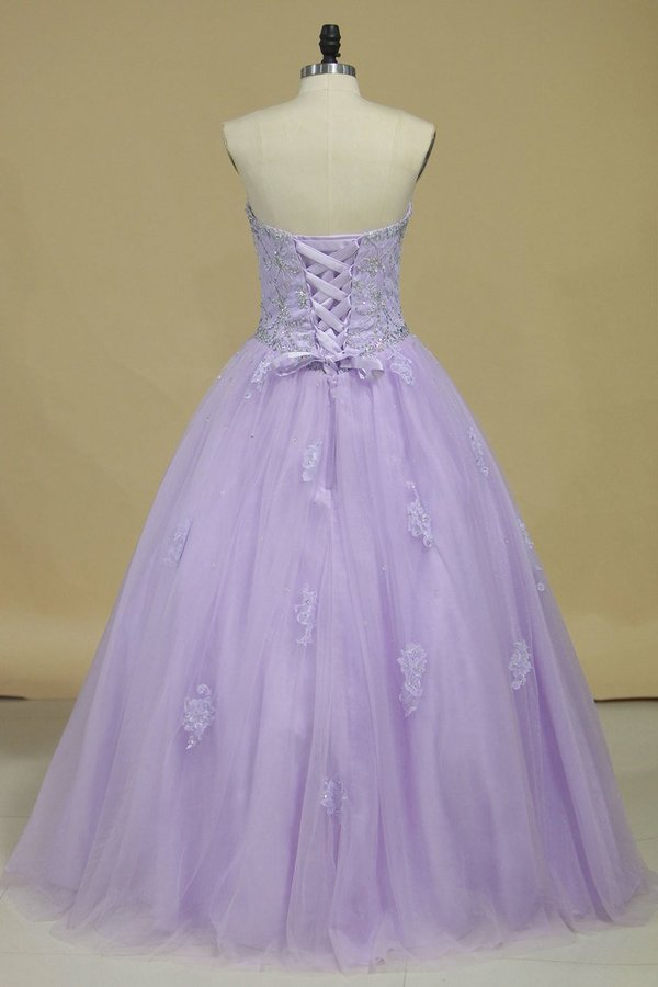 2020 Quinceanera Dresses Sweetheart Tulle With Beads P82YLBPH