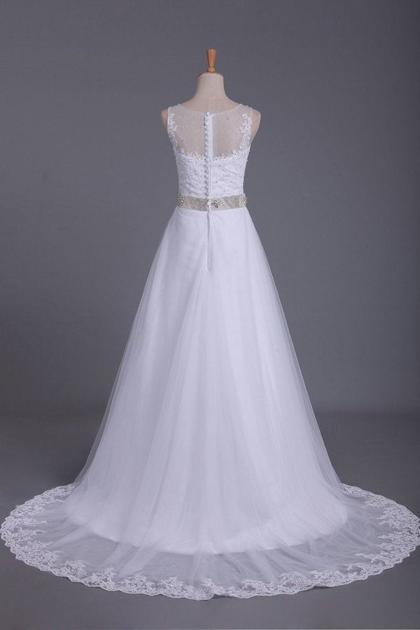 2020 A Line Scoop Tulle Wedding Dresses With Applique And PKFEKMPS