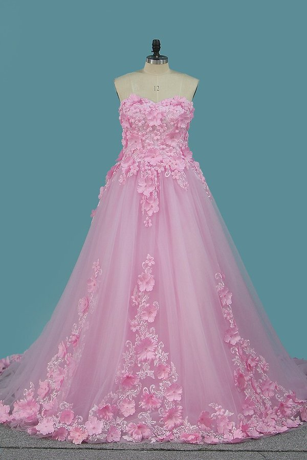 Sweetheart A Line Tulle Wedding Dresses With P963YTGR