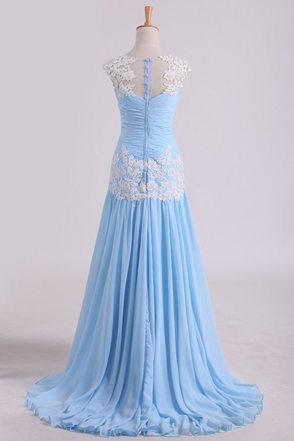 Chiffon Prom Dress Bateau Neckline Pleated Bodice With P9TLN77S