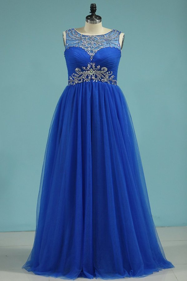A Line Scoop Tulle With Beads And Ruffles Floor Length P6F6C26N