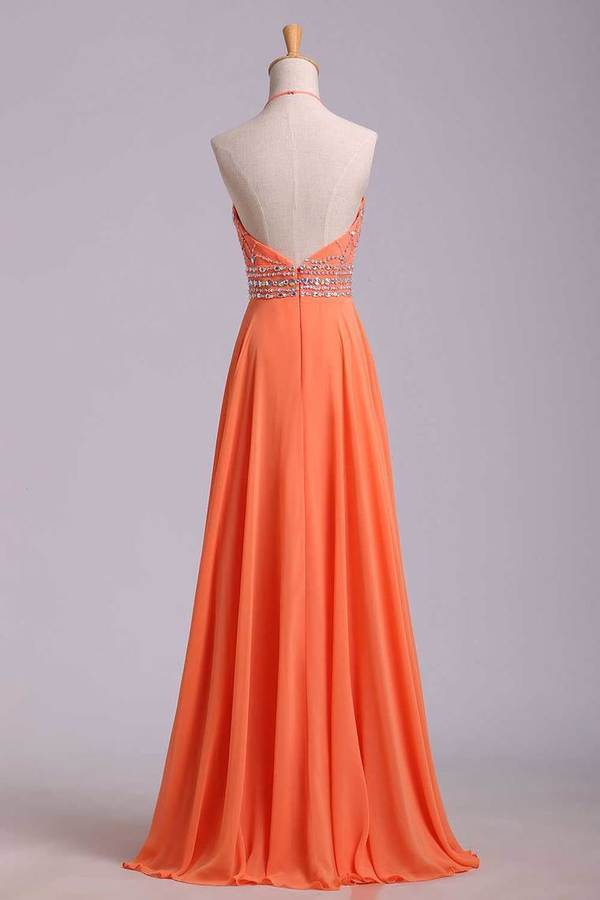 Halter Prom Dress Beaded Bodice A Line Chiffon Long Chic PT8RBY9K