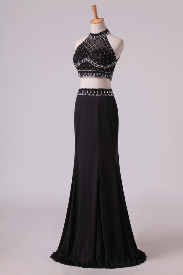 Black Halter Two-Piece Beaded Bodice Mermaid Open Back Prom Dresses Spandex & Tulle Floor P4ZELFEL