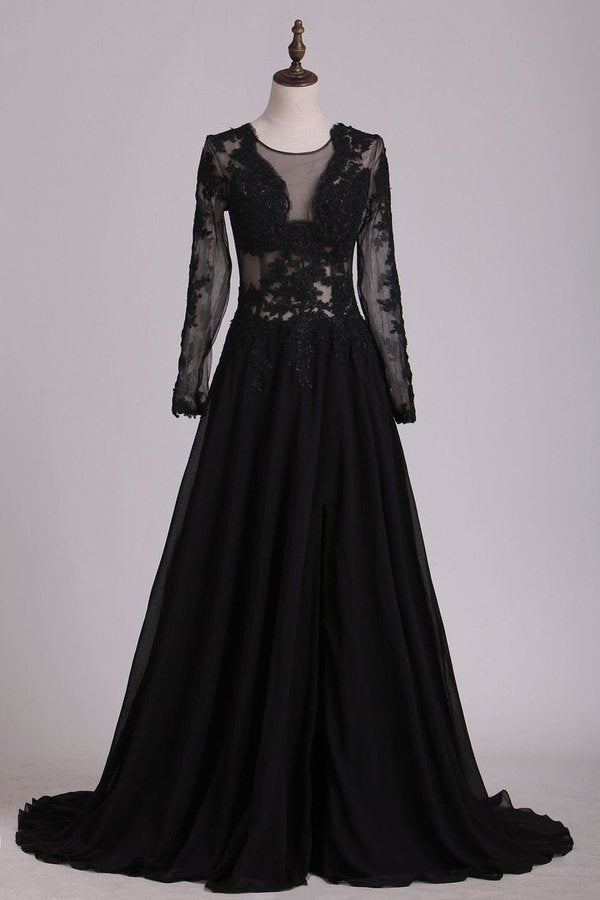 Black Long Sleeves Scoop Prom Dresses With Applique & Slit PF9QCGL3