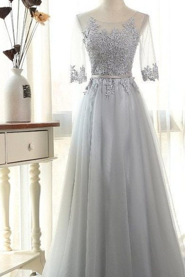 Elegant Prom Dresses A-Line Scoop Floor-Length Tulle Zipper Back 3/4 Sleeves PMJZC9LN