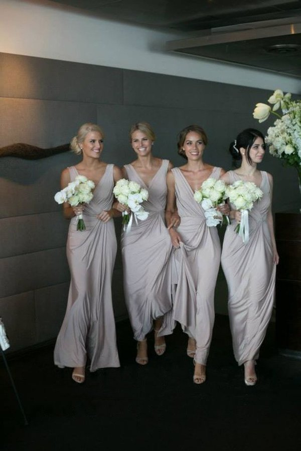 A Line V Neck Chiffon With Ruffles Bridesmaid Dresses PB4HJADC