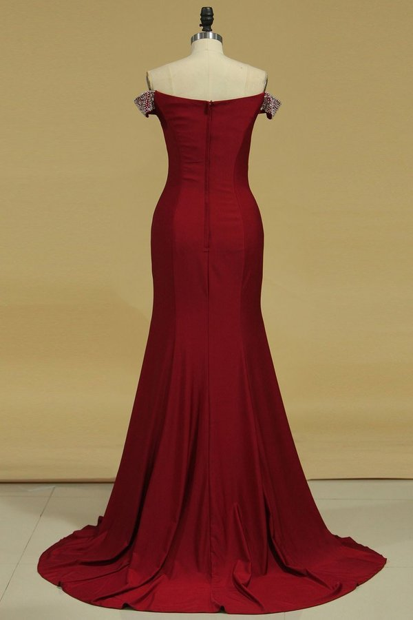 Evening Dresses Mermaid Off The Shoulder Spandex With Beads And P4ZRL7NK
