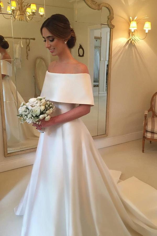 Simple Satin A-line Off the Shoulder Ivory Cheap Bridal Gown Wedding Dresses