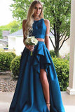 Simple Vintage Two Pieces A-line Blue Sleeveless Slit Long Scoop Woman Evening Dresses
