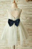 Princess Ivory Beautiful Lace and Tulle Scoop Open Back Cheap Flower Girl Dresses with Bow