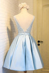 Sky Blue A-Line V-Neck Short Prom Dresses Appliques Lace Homecoming Dresses