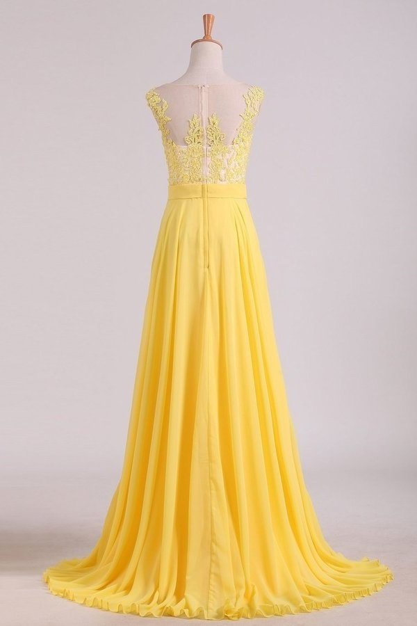 A Line Scoop Cap Sleeves With Applique Prom Dresses Chiffon Floor PBGYRLSA