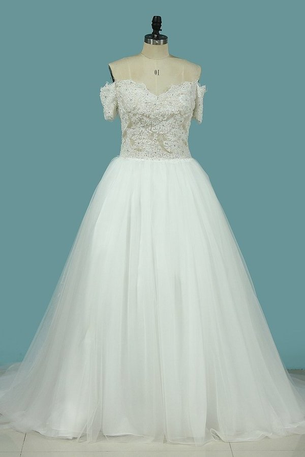 A Line Covered Button Wedding Dresses V Neck Tulle With PC3FPHP1