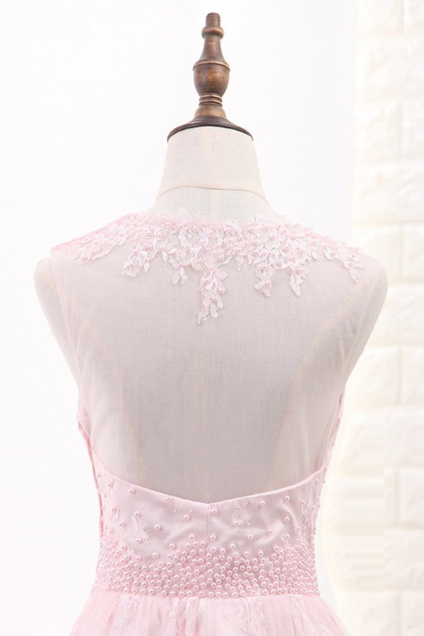 2020 A Line Scoop Lace With Applique And Beads PSG2S299