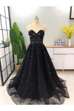 Elegant A Line Sweetheart Strapless Black Tulle Prom Dresses With STGPT11F6GE