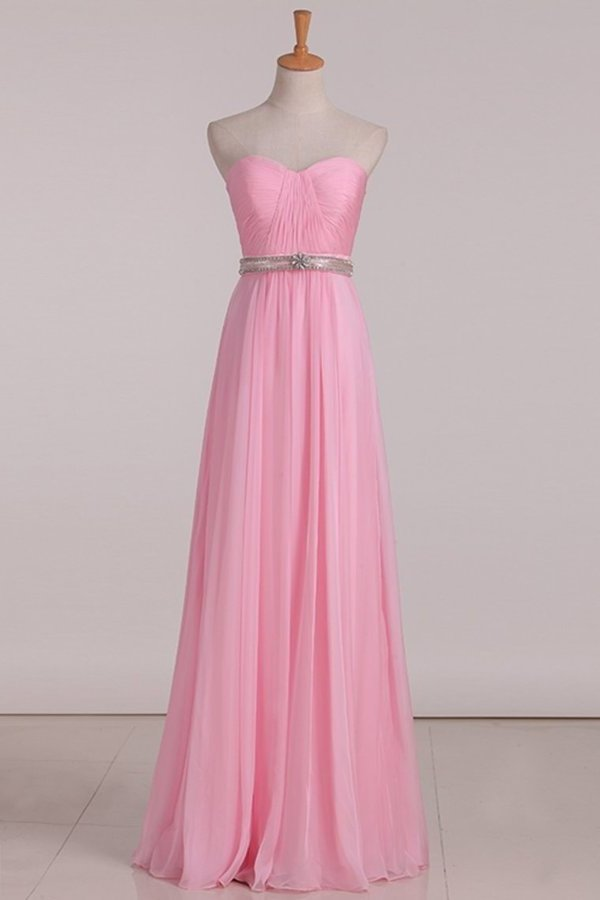 2020 Bridesmaid Dresses A Line Sweetheart Pleated Bodice Beaded Waistline P459943X