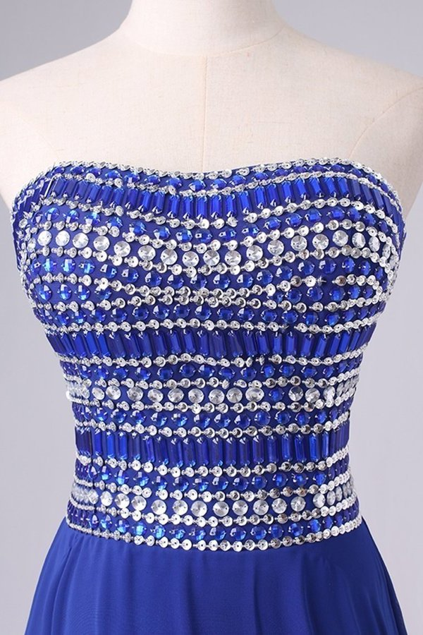 2020 A Line Short/Mini Strapless Dark Royal Blue Chiffon Homecoming Dresses With PZJGHLHX