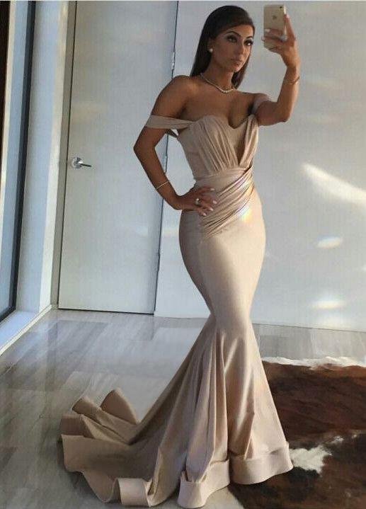 Off the Shoulder Mermaid Fashion Sexy Sweetheart Gold Floor-Length Prom Dresses