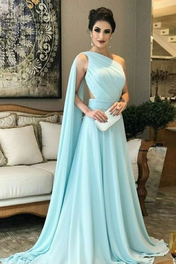 Chiffon One Shoulder A Line Prom Dresses With Ruffles PFRANYH2