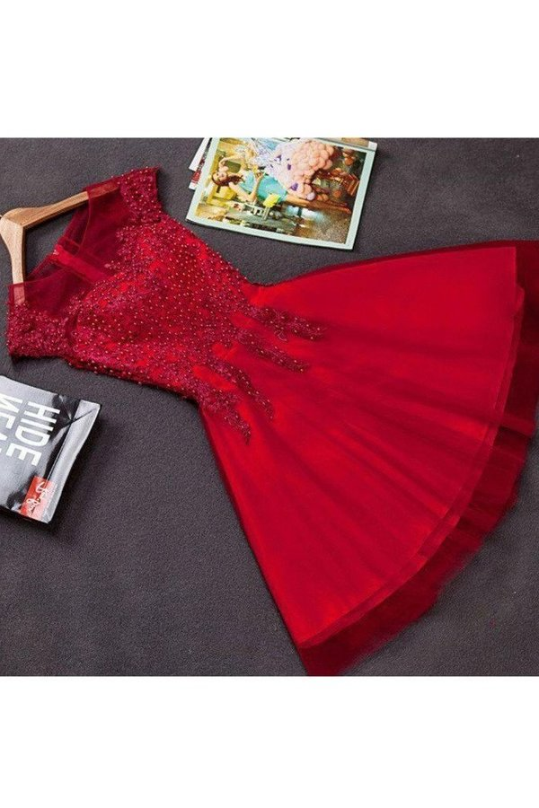 Homecoming Dresses A Line Scoop Tulle With Applique P48NJKBP