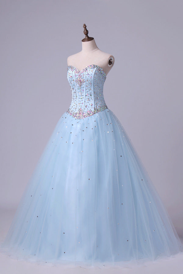 Sweetheart Beaded Bodice Quinceanera Dresse Tulle P44F2P5J