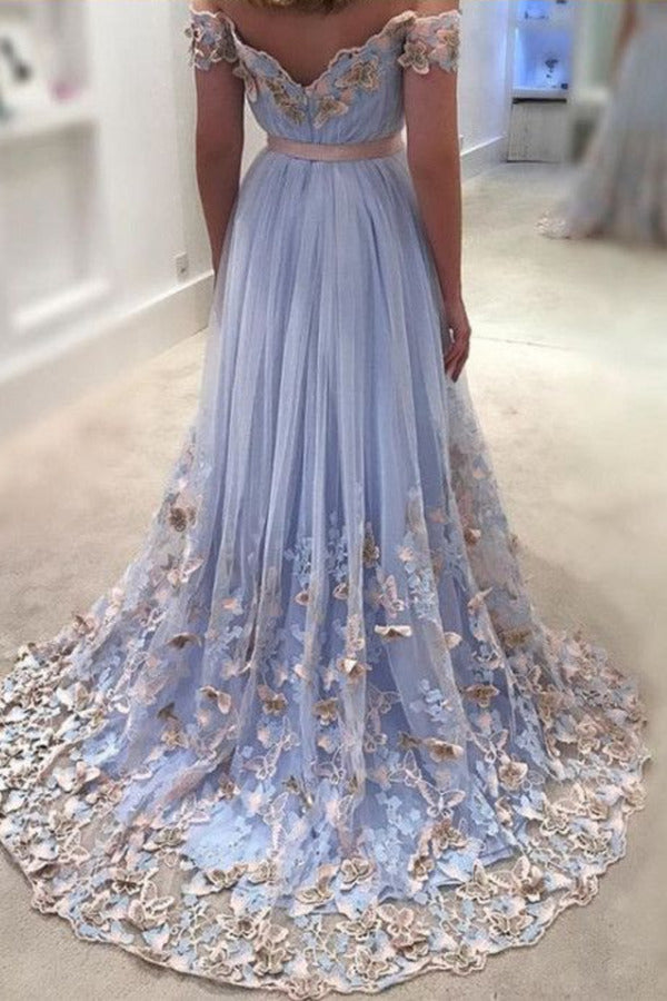 Sexy Prom Dresses Off-The-Shoulder Floor-Length Appliques Long Prom PHSNF2Y7