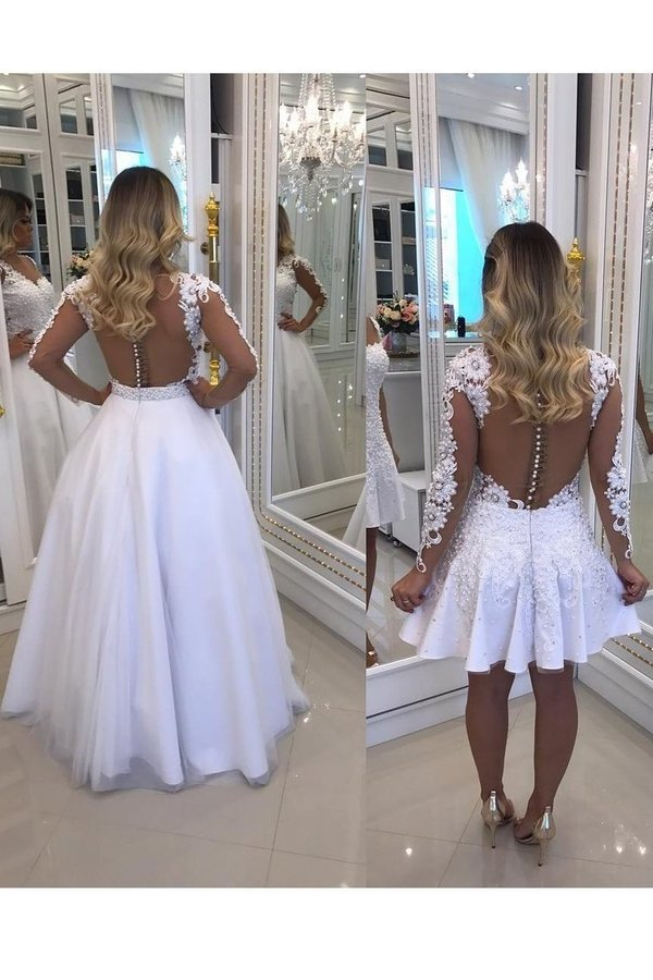 2020 Scoop Long Sleeves Prom Dresses A Line Tulle With Applique PENC5RJS