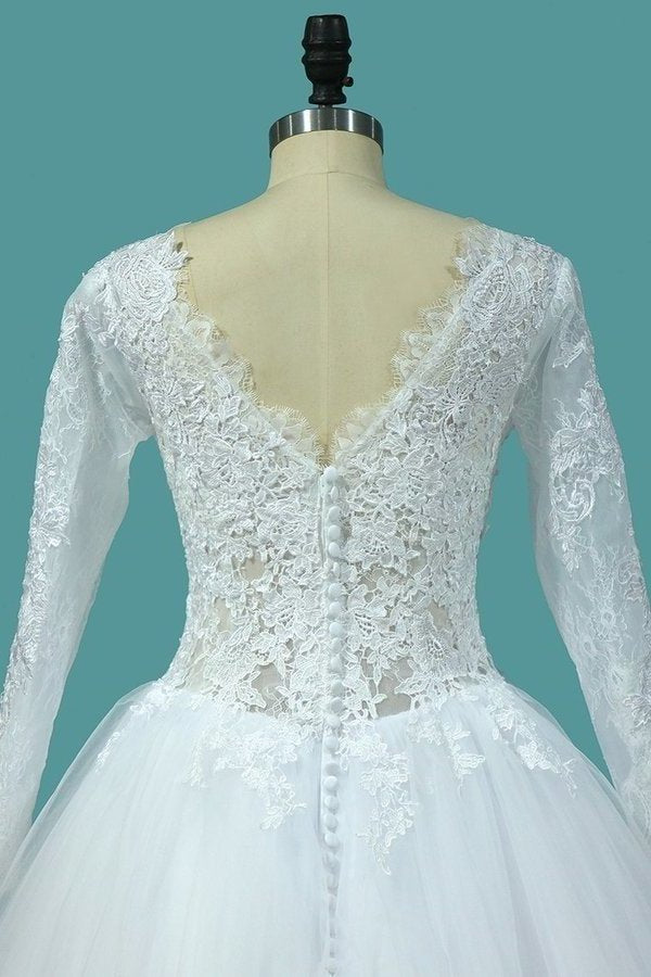Bateau Long Sleeves A Line Tulle Wedding Dresses With Applique P8EE41ME