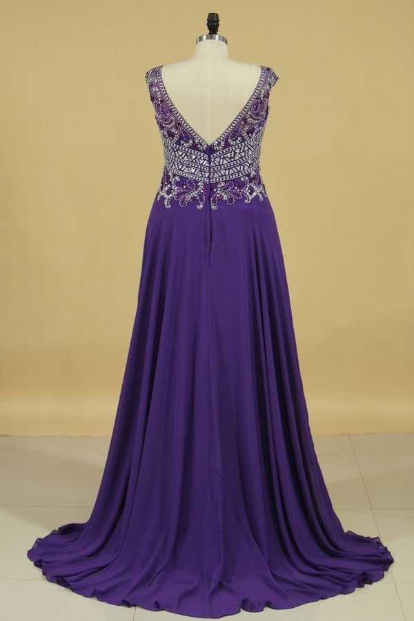 A Line V Neck Beaded Bodice Chiffon Sweep Train Prom PL99669T