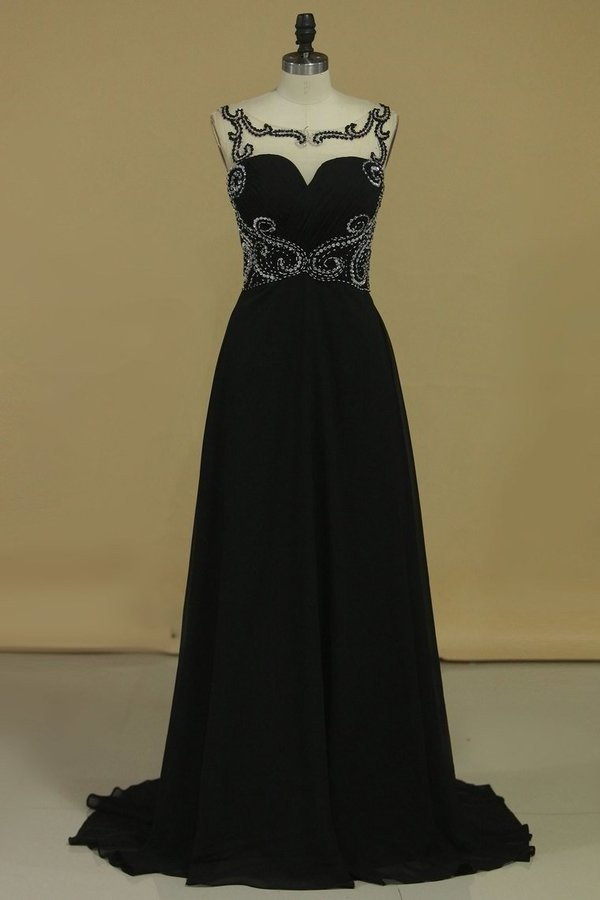 Bateau With Beads And Ruffles Prom Dresses A Line Chiffon Sweep PXMY3KGL