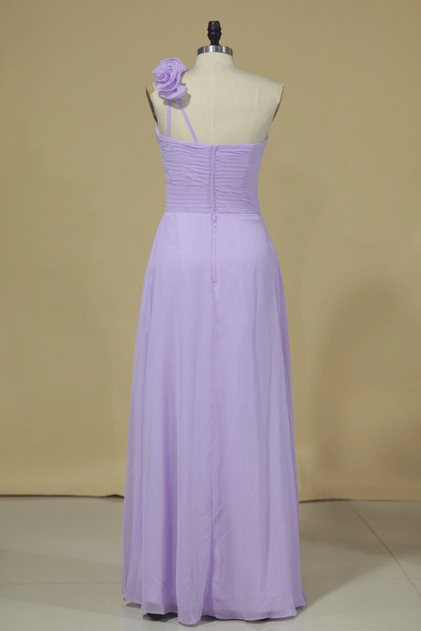 2020 Bridesmaid Dress A Line One Shoulder Chiffon With Handmade P9BC6KZF