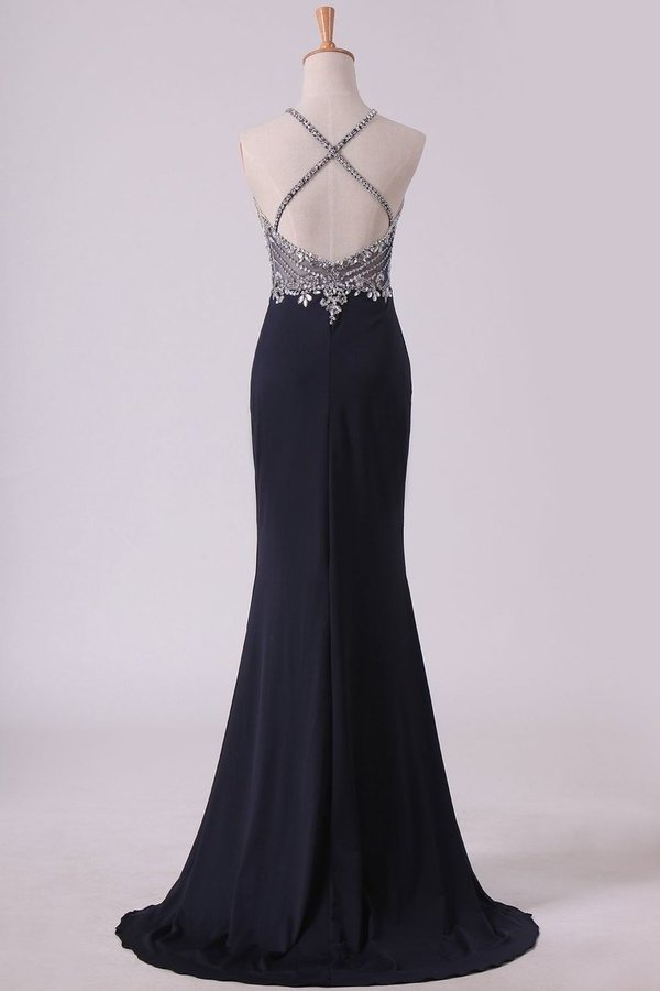 Sexy Open Back Spaghetti Straps Beaded Bodiced Prom P96QS8RY