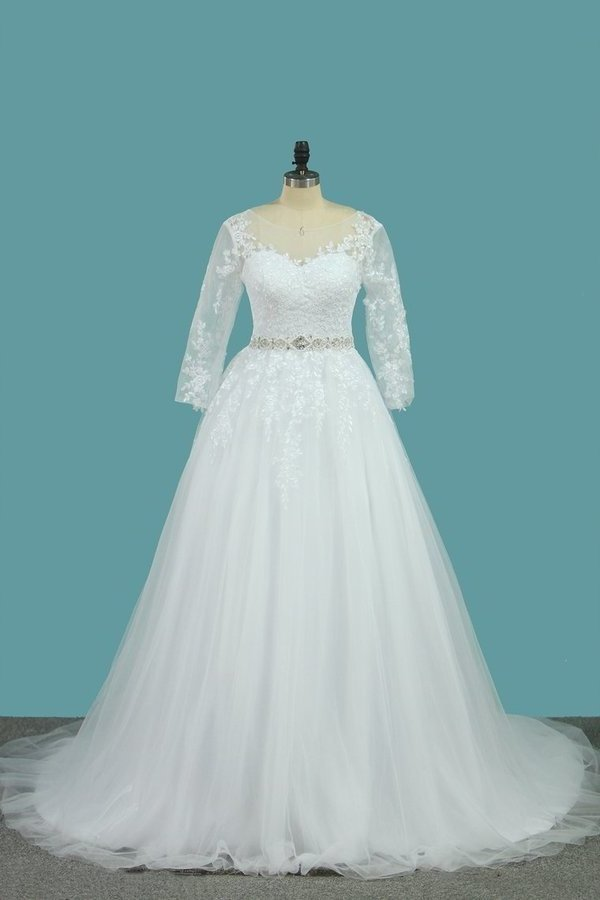 2020 Bateau Wedding Dresses Tulle A Line With Applique And Beads PD493Q9D