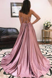 2020 A Line Prom Dresses V Neck Satin Straps Sweep PYE29SYC